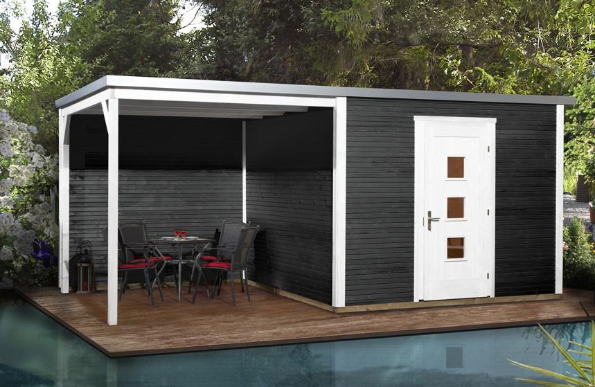 gartenhaus flachdach designhaus wekaline 413 kaufen im. Black Bedroom Furniture Sets. Home Design Ideas