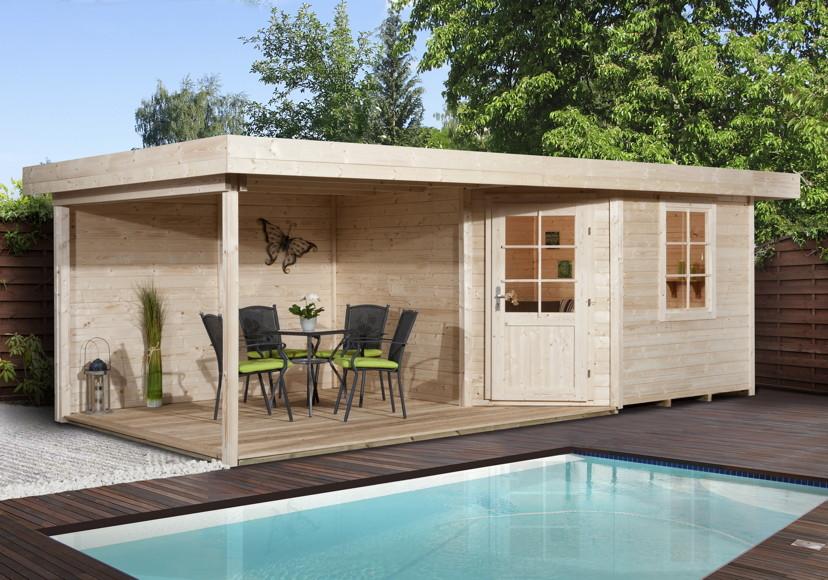 Gartenhaus Holz Mit Terrasse ~ Gartenhaus Flachdach WEKA «Designhaus 213 Größe 2» Fünf Eck Hhaus