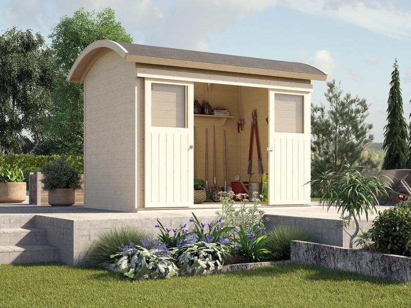 ger tehaus schiebet r runddach gartenhaus holz haus. Black Bedroom Furniture Sets. Home Design Ideas